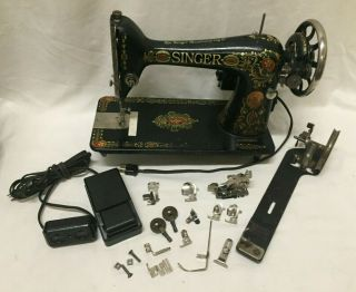 "Antique Singer Electric Sewing Machine Model 66 "" Red Eye "" Pedal & Bobbin Winder"