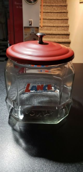 Vintage Lance Glass Cracker Cookie Candy Store Display Jar W/ Lid All