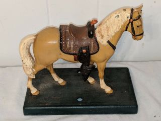 "Vintage Antique Cast Iron Palomino Horse & Saddle Doorstop? Statue 8 "" By 7 3/4 """