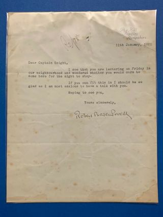 Boy Scout Official Letter Signed Baden Powell Dated On 1922
