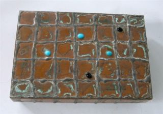 "Brutalist Copper Table Box Silver Turquoise Black Onyx Signed 6 "" Hand Crafted"