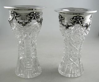 Sterling And Cut Crystal Gorham Vases - Garland Themed Pattern (pair)