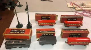 Vintage Lionel 1689e Locomotive & Tender W/ 3 Cars Lamps W/ Boxes Estate Find