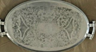 Vintage Large Aluminum Serving Trays Oval Shaped With Handles