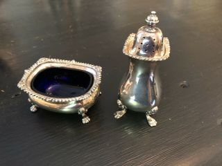 Tiffany & Co English Sterling Silver & Cobalt Glass Salt Cellar,  Pepper Shaker