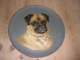 Large Antique Pug Dog Oil Painting 1880 Watcombe Pottery England Terracotta