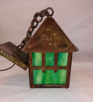 Antique Pendant Art Crafts Mission Light Fixture Green Slag Glass (2 Available)