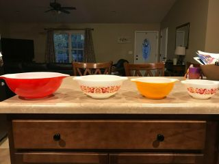 Vintage Pyrex Friendship Mixing Bowls Set 441 442 443 444 Complete 4