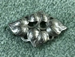Kalo Hand Wrought Sterling Silver Leaf Brooch Pin Marked Dp Daniel Pedersen