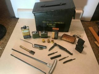 Ww2 Vintage Gun Cleaning Kit In A M1909 Ammo Box