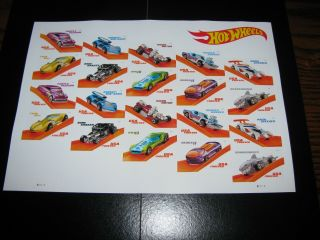 Hot Wheels - 50th Anniversary Us Forever Stamp Sheet 2018 (20 Stamps)