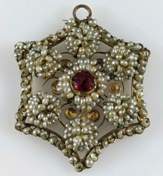 Antique Georgian 18th - 19th C Gold Ruby Cluster Seed Pearl Jewelry Pendant