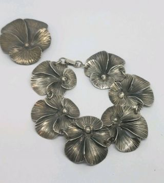 Stuart Nye Hand Wrought Sterling Silver Pansy Bracelet And Brooch Set