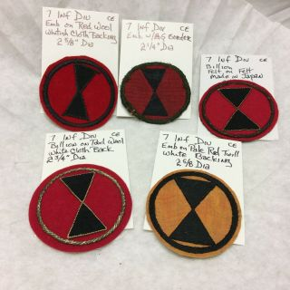 5 Vintage Badge Patches 7th Infantry Division