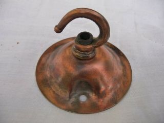 Antique Copper Arts And Crafts Lighting Hook Ceiling Rose - Lantern Pendent 1920s