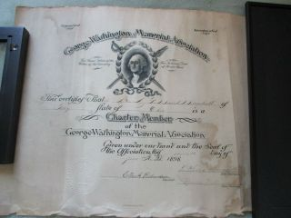 George Washington Memorial Association Membership 1898 Charter Member Certificat