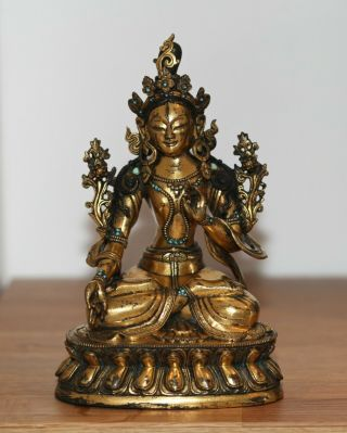Antique Chinese Tibetan Gilt Bronze Buddha,  Qing Dynasty,  Museum Quality