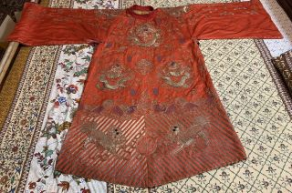 Antique Chinese Hand Embroidery Qing Dynasty Silk Dragon,  Foo Loin Robe