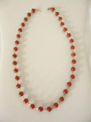 """Vintage 14k Yellow Gold Red Coral ?? Bead Beaded Necklace 16 """""""