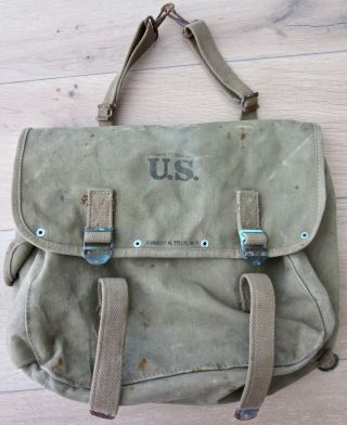 Wwii 1942 Field Bag Us Army Musette Military Fishing Gear Doctor Medic Ma Ww2 Me