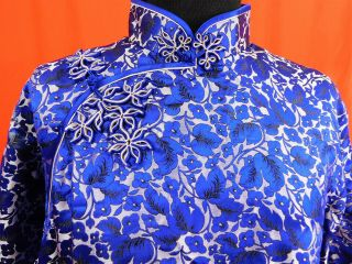 Antique Chinese Qipao Cheongsam Blue Silk Damask Floral Brocade Banner Dress Vtg