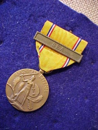 Wwii Us American Defense Medal With Sea Clasp