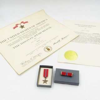 United States Us Air Force World War Ii 2 Bronze Star With Certificate W/box
