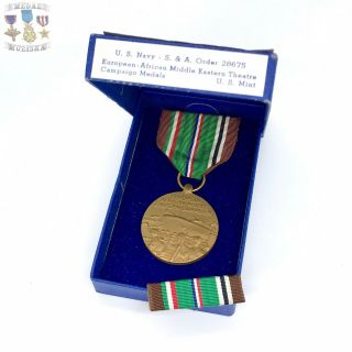 Wwii U.  S.  Navy European African Middle Eastern Campaign Medal Ribbon Bar Box