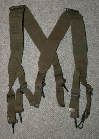 Ww2 Us Army Issue Od Canvas M - 1945 Model Field Pack Straps (x - Suspenders)