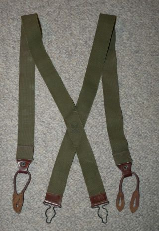 Ww2 Us Army Air Forces Usaaf Issue Heavy Trousers Suspenders W/leather Tabs