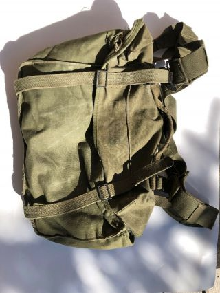Vintage Us Army Ww2 M - 1945 Pack Field Cargo Canvas Military Bag 1954