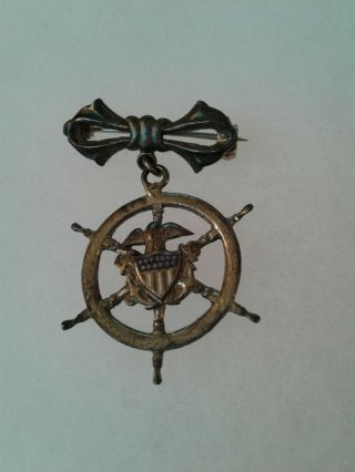 Vintage Wwii Us Navy Usn Ships Wheel Fowled Anchor Home Front Pin Back Sterling
