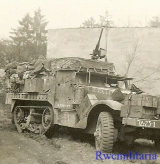 """Best Us M3 Armored Halftrack """" A Smitty """" By Motorcycle In Field; Germany"""