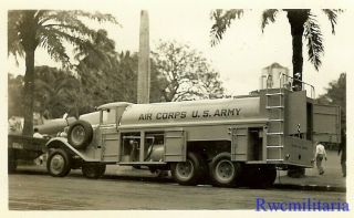 Awesome Us Army Air Corps Heavy Fuel Tanker Truck On Road