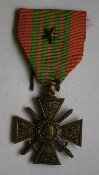 French 1939 Croix De Guerre (war Cross) Bravery Medal For Wwii