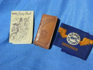 World War 2 Ww2 Us Army Dictionary Leather Songbook Book And Armband