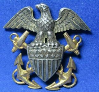 Pre - Wwii 1/20 10k Gold On Sterling Navy Naval Officer Hat Badge By Amcraft