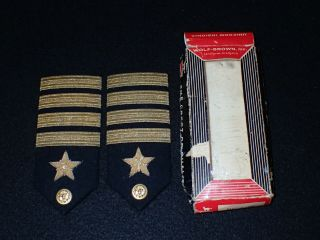 Wwii Navy Officer Shoulder Rank Boards Pair Captain Line