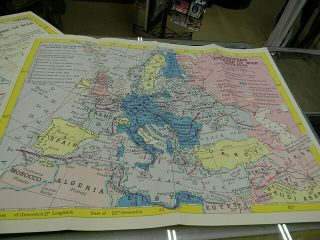 """Wwii Maps,  Far East And European Theaters 19 """" X 25 """" Heavy Paper,  Set Of 2"""