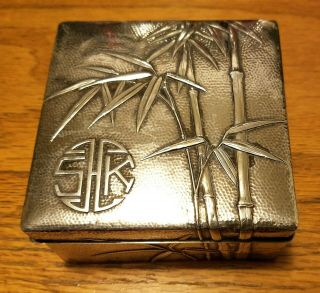 Antique Chinese Export Silver Cigarette Case Box Wood Inlaid