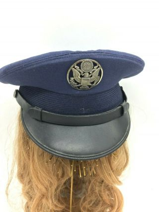 Vintage Wwii Military Usa Air Force Navy Blue Officer Visor Cap Hat 7 Bancroft