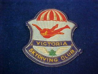 "Orig Vintage Cloth Patch Victoria Skydiving Club "" Parachute """