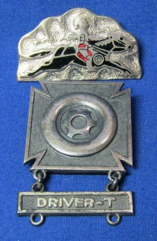Wwii Sterling Army Armor Corps Tank Driver Badge & 1st Tank Company Di Pin