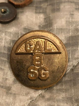 Pre Ww2 California State Guard,  8th Regiment Collar Disc,  Hard To Find 1920s - 30s