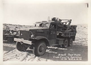 Wwii Photo Us Army Bull Dozer On Truck Desert Sand 1942 Camp Seeley 26