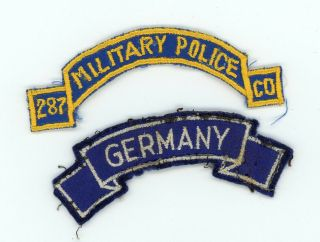 Post Ww2 Wwii Us Army Europe 287th Military Police Company And Germany Tab