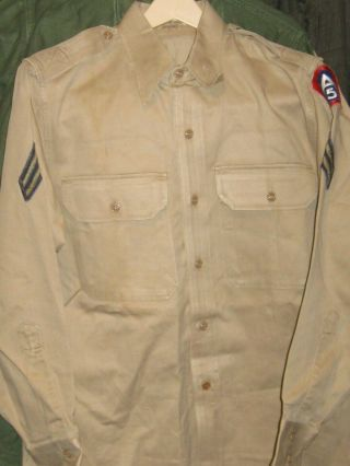 Us Wwii Army 5th Army Khaki Ls Enlisted Shirt - 15 X 32,  Cpl