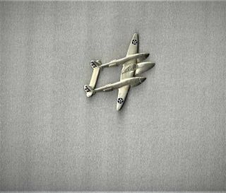 Ww2 Sterling Us Army Air Corps Large P - 38 Bomber Fighter Airplane Pin Wing Stars