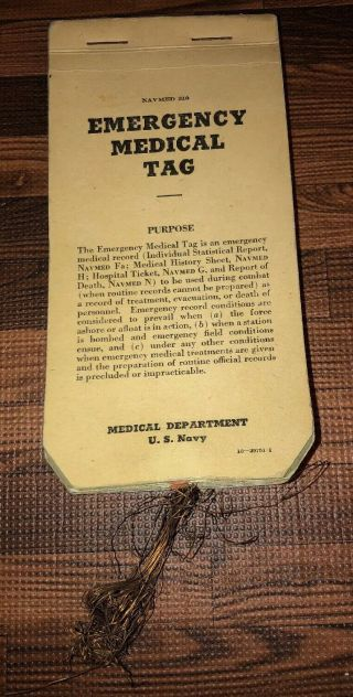 Wwii Us Combat Navmed: Emergency Medical Tags