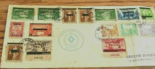 1943 Ww2 Japanese Military Police Censored Envelope Manila Philippines 15 Stamps